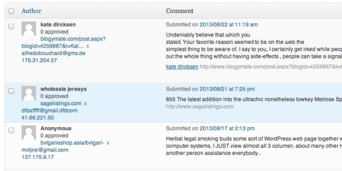 WordPress comments shortcuts