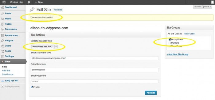 Screenshot showing the Push Syndication Add A Site screen