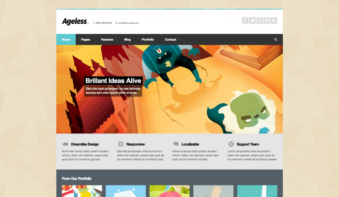 Ageless colorful WordPress theme