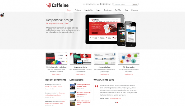 Caffeine colorful WordPress theme
