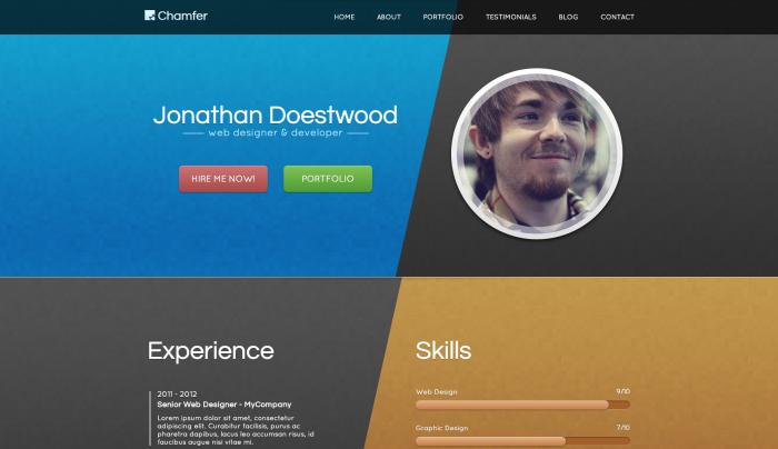 Chamfer colorful WordPress theme