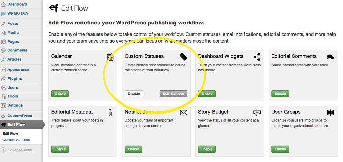 Screen grab of the Edit Flow modules management screen