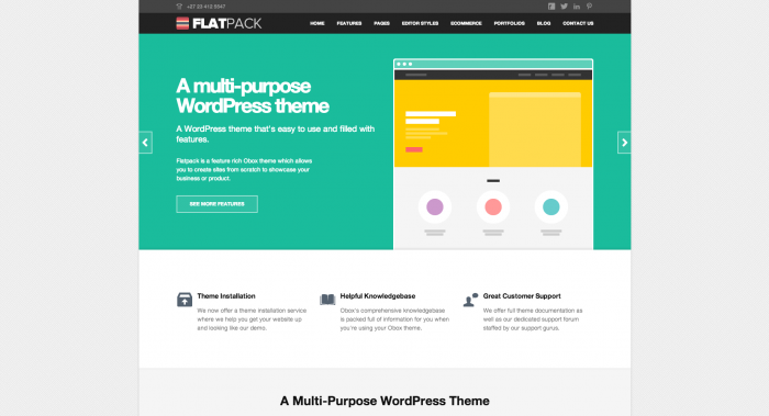 Flatpack colorful WordPress theme