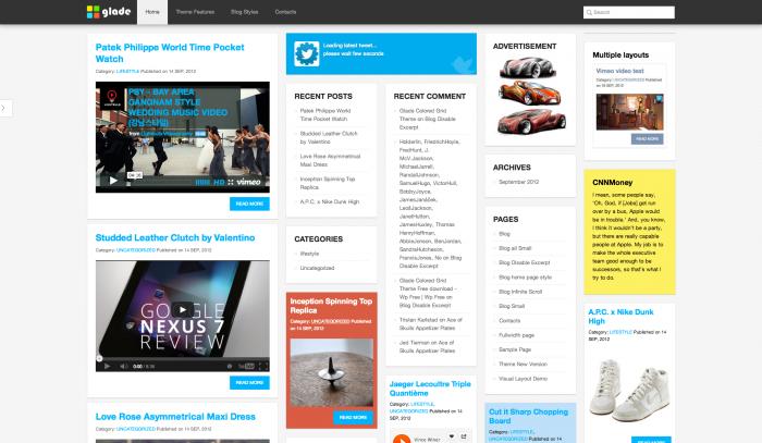 Glade colorful WordPress theme