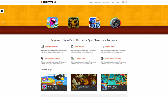 Grizzly colorful WordPress theme