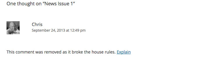 Screen grab of a comment whose text has been replaced by the broke rules message.