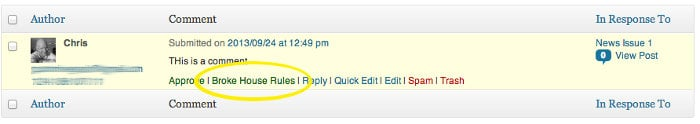 Screen grab showing the admin options for a single comment