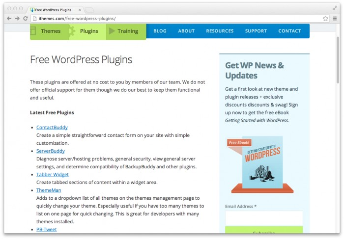 Ithemes.com offers free WordPress plugins.