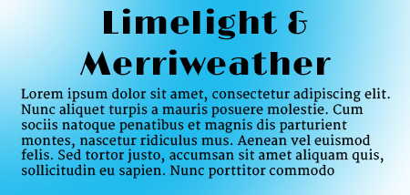 Limelight and Merriweather Google Fonts