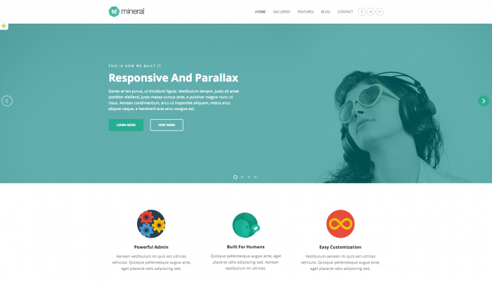 Mineral colorful WordPress theme