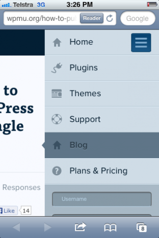 Screenshot from a smartphone showing WPMU.org's mobile menu