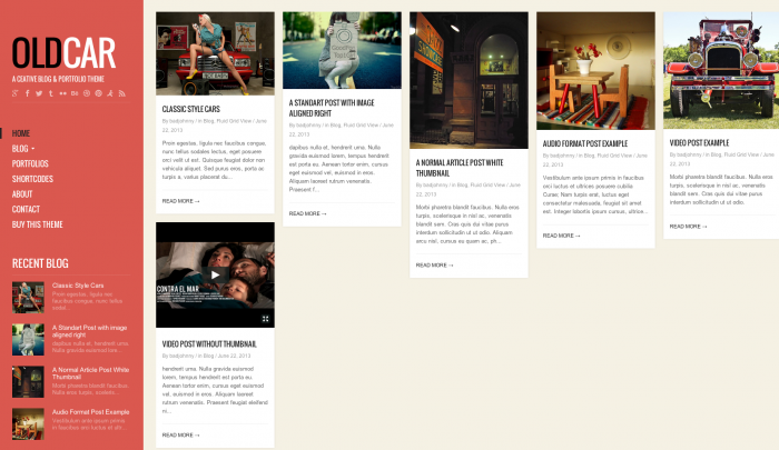OldCar colorful WordPress theme