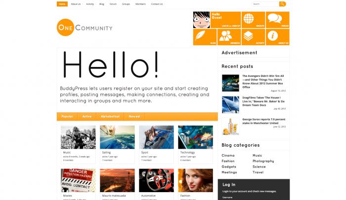 OneCommunity colorful WordPress theme