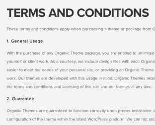 Organic Themes Terms and Conditions