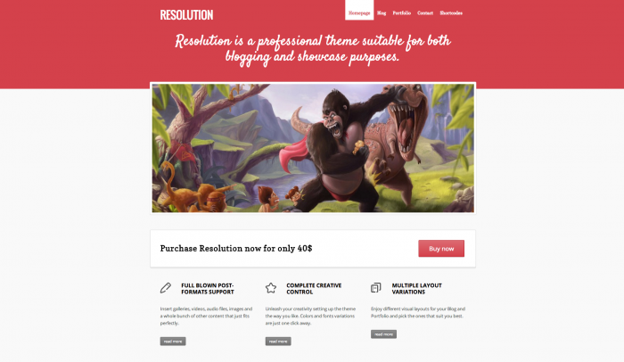 Resolution colorful WordPress theme