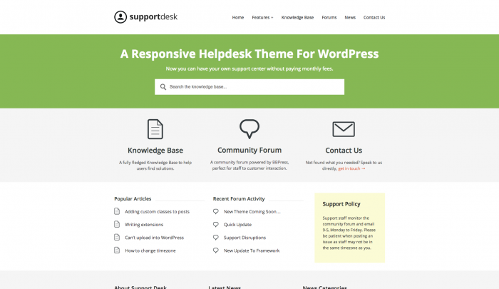 Support Desk colorful WordPress theme