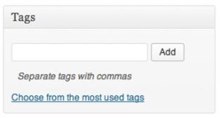 Screen grab of the default WordPress Tags meat box
