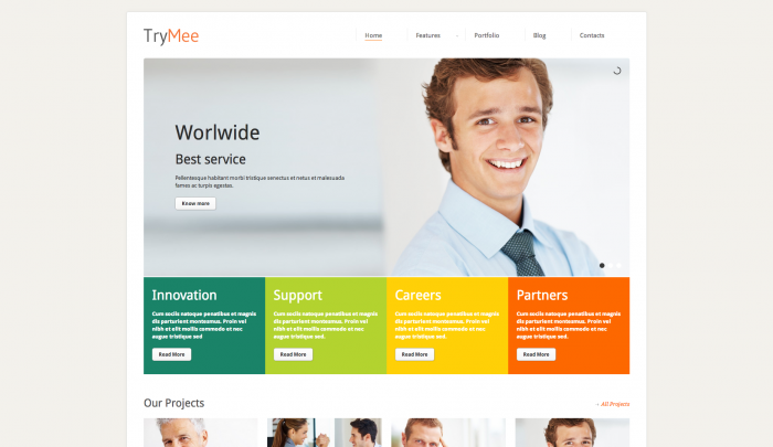 Trymee colorful WordPress theme