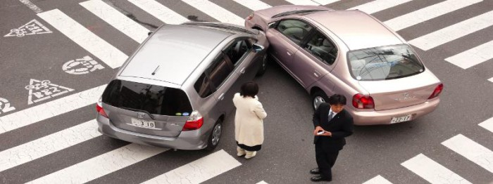 Photo of a minor car accident in Japan
