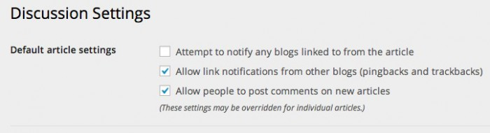 Screen grab of the default article settings from the Discussion Settings page