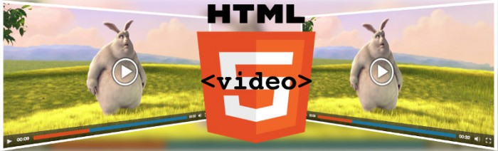 Illustration showing the HTML5 logo, the video tag and two stretched video players