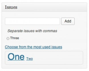 Screengrab of the issues metabox on the post edit page