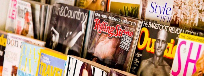 Photo of magazines in a commercial magazine rack