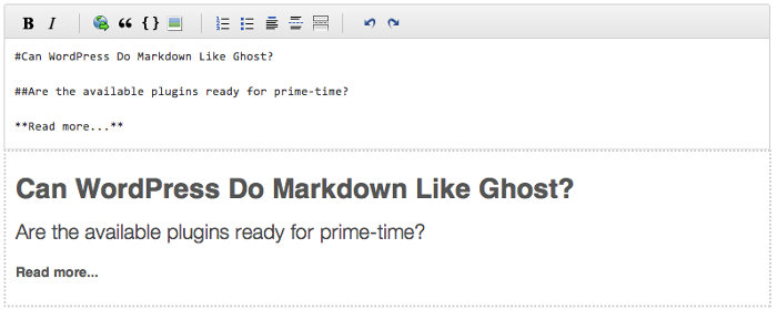 Screen grab of the WP-Markdown preview