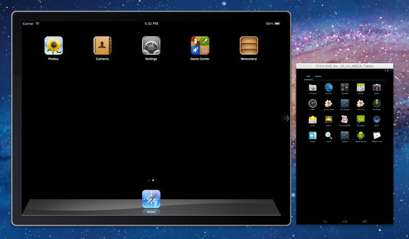 Screen shot of the iOS Simulator and Android Emulator running on OS X