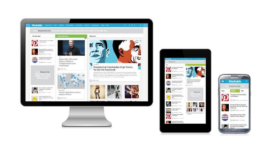 Picture showing a website on a desktop, tablet and a smartphone