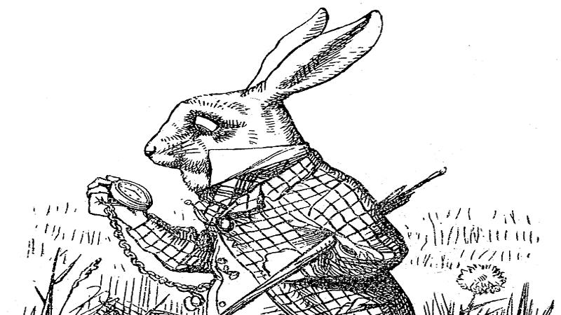 Illustration of the white rabbit from an ealrly copy of Alice In Wonderland