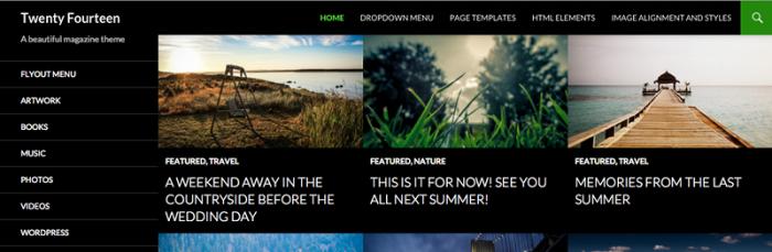 Screenshot of a TwentyFourteen home page