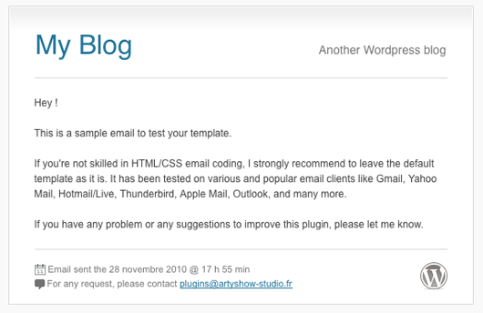 Screenshot of an templated email