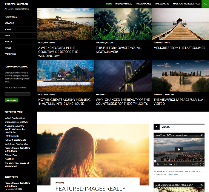 Screenshot of the home page with a grid and featured image