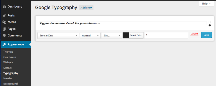 Screenshot of the Google Typography plugin settings page