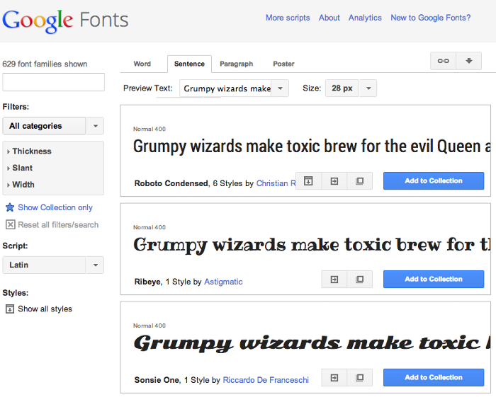 Screenshot of Google Fonts font preview