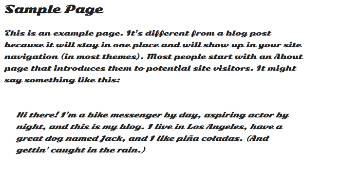Screenshot of the sample page with new font applied