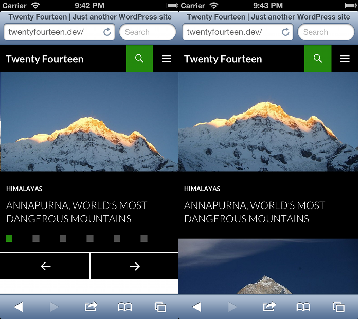 Screenshots of the slider and grid home pages on a mobile