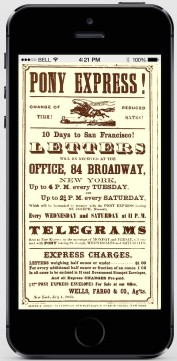 Pony Express ad taking over an iPhone screen