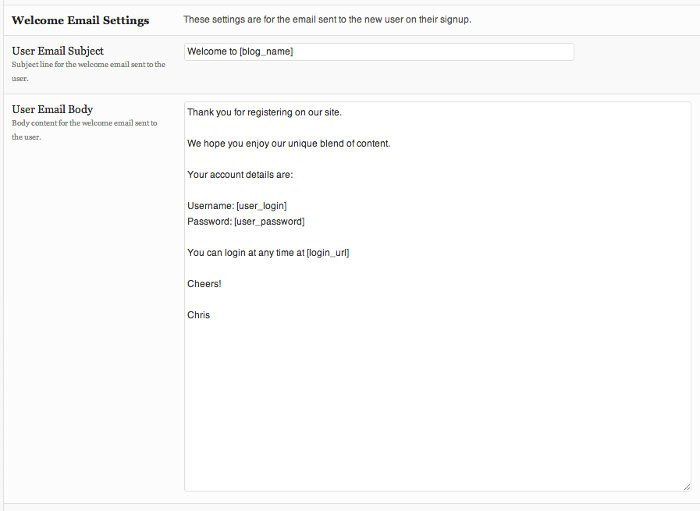 Screenshot of the welcome email settings