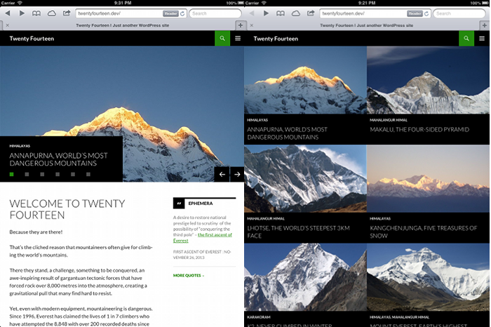Screenshot of the slider homepage next to a grid homepage