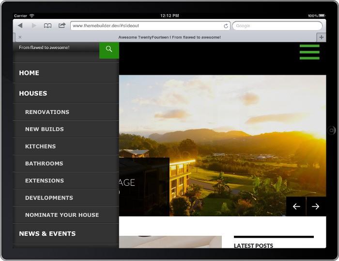 Screenshot of slide-out menu on a tablet