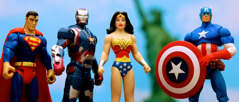 Photo of Superman, Ironman, Wonder Woman and Captain America action figures