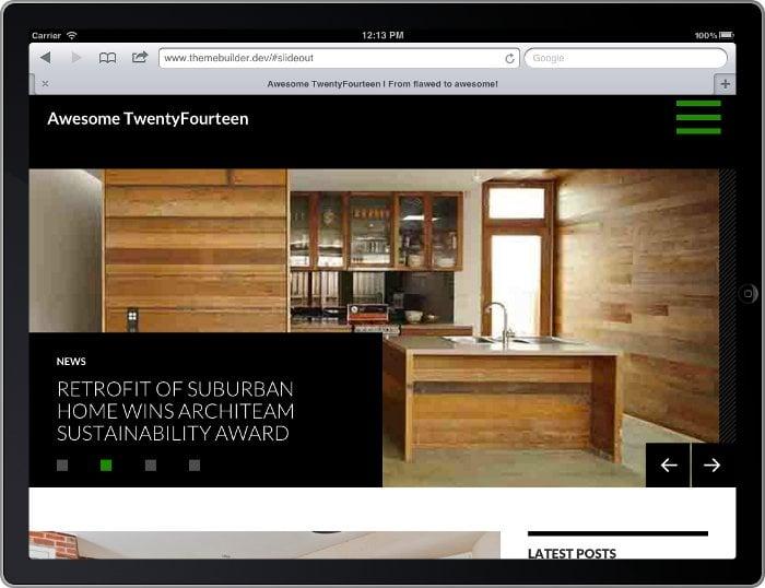 Screenshot of Twenty Fourteen on tablet showing slider