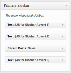 Screen shot of same sidebar with titles on Text widgets