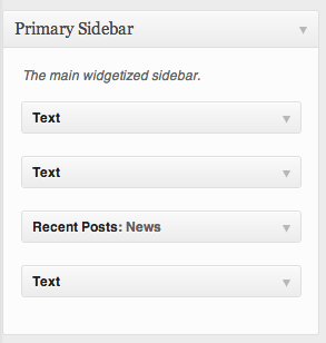 Screenshot of the Primary Sidebar with 3 text widget areas