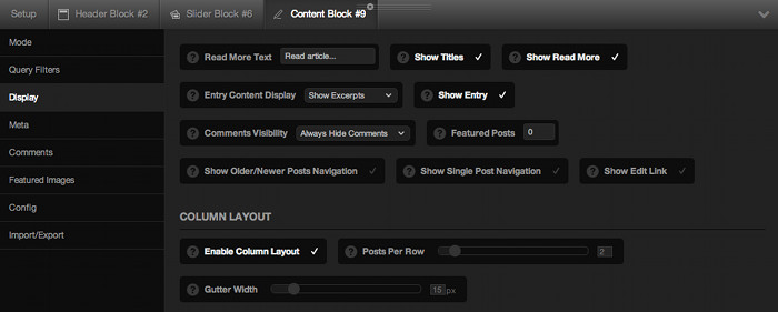 Screenshot of the block configuration panel