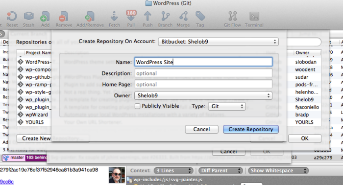 You can create a new remote repository in BitBucket or GitHub from inside of SourceTree.