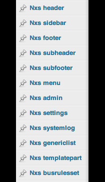 Screenshot of the admin options that Nexus adds to the admin interface