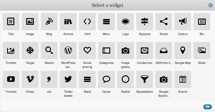 Screenshot of the widget selection screen